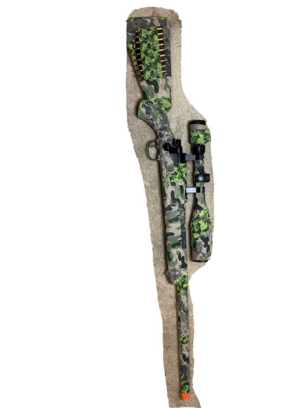 Airsoft sniper rifle customized with expensive scope and grip tape camouflage