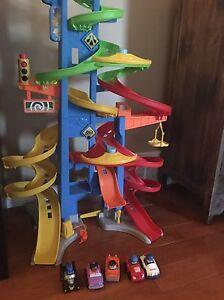 Little people car ramp and 5 cars $20