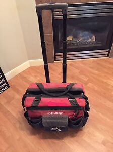 Husky tool bag with wheels, handles and lots of storage