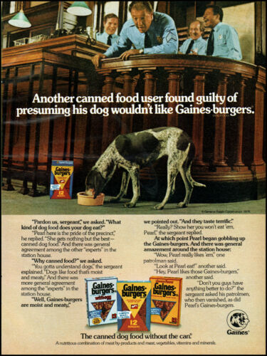 1976 Police Station Gaines Burgers dog food patrolmen retro photo print ad ads80