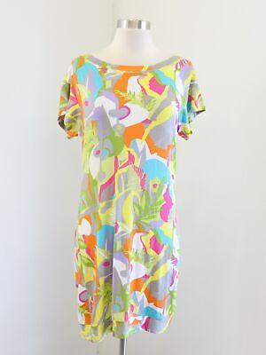 Trina Turk Abstract Print Short Sleeve Knit Shift T-Shirt Dress Size S Yellow Abstract Print Shift