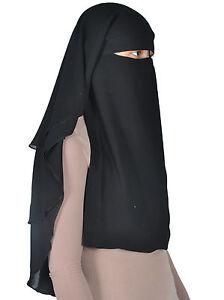 Niqab dreilagig - Hijab Gesichtsschleier Burka Khimar Islamische Gebetskleidung