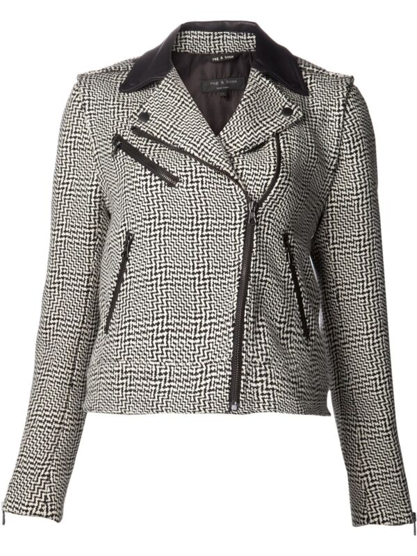 $895 Rag & Bone Sz 2 Bowery Tweed Black White Jacket Vest Coat Women Nwt