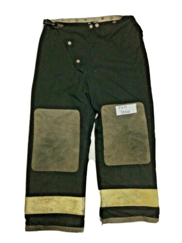 34x28 Globe Black Firefighter Turnout Pants with Yellow Reflective Tape P1277
