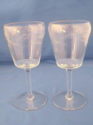 VINTAGE CRYSTAL LIQUOR GLASSES~CUT GLASS~2 GLASSES~SHERRY GLASSES?~5 1/2