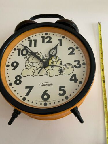 "Vintage 18"" Garfield The Big Fat Alarm Clock Sunbeam Works - FAST FREE SHIPPING"