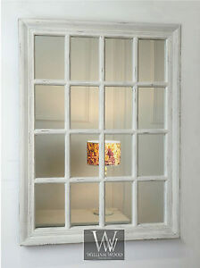 Provence White Shabby Chic Rectangle Window Wall Mirror 32