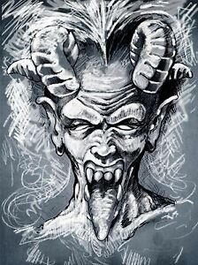 Peinture dessin portrait diable demon cornes de la langue art print poster mp3826a ebay - Dessin de demon ...