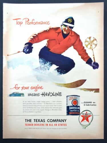 1947 Havoline Texaco Motor Oil Vintage Print Ad Top Performance skiing Skier