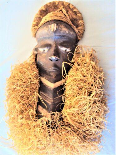 PENDE MASK 1 Headdress Raffia African Carving!!