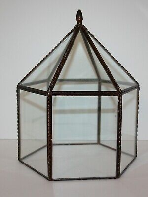 Metal And Glass Dome Curio Display Case Cover