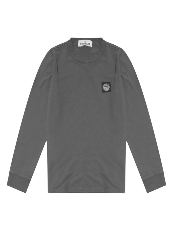 c209a026 Stone Island Junior Marl Grey Patch Logo Pique Long Sleeve T-Shirt ...