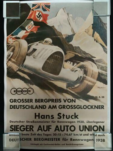 Repro Auto Union 1938 Rennwagen Hans Stuck Racing Poster Print: Garage Home Shop