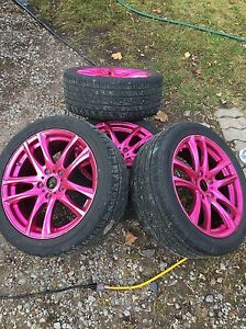 5x114 pink chrome wheels and tires