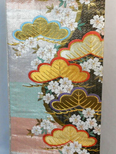 "Japanese Kimono SILK Fukuro OBI, Rokutu ,Gold/Silver, SAKURA  & Pine,L170""..1830"
