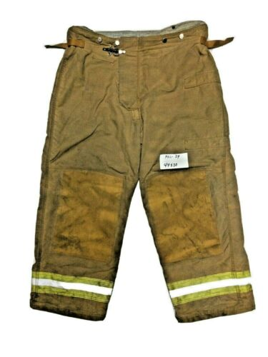 44x30 Securitex Brown Firefighter Turn Out Pants w/ Yellow Tape No Liner PNL-34