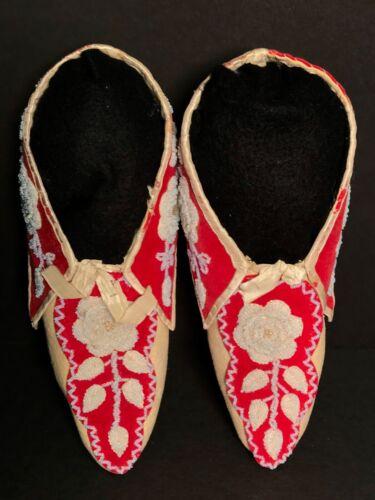Fine Northeastern SENECA/MICMAC BEADED RED WOOL BROADCLOTH&SILK MOCCASINS, c1870