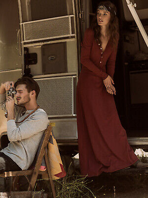 Free People M Dress El Topo Henley Maxi Dress Miles of COTTON FP Beach Red