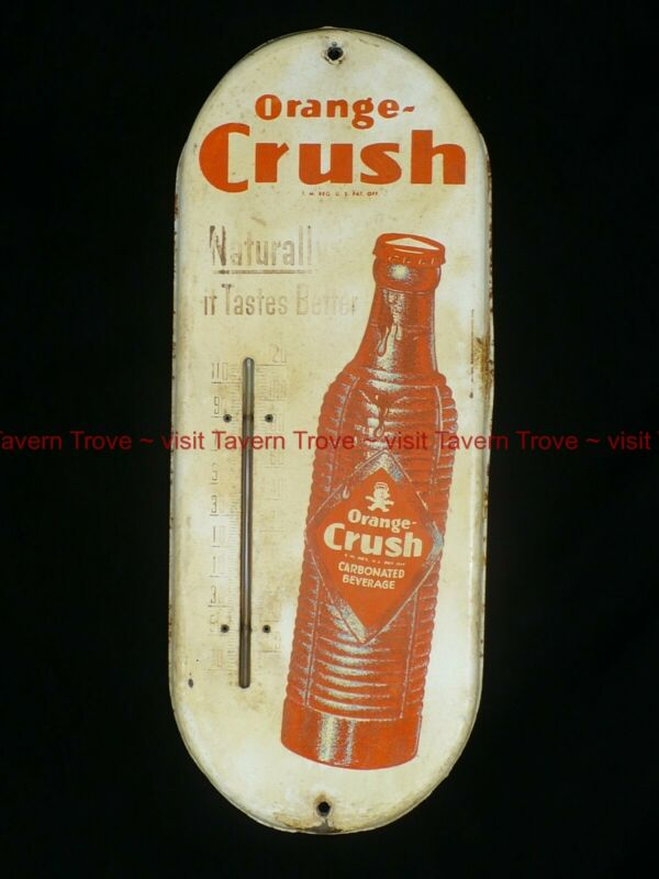 "1930s ORANGE CRUSH Thermometer 15x6"" Tavern Trove ""Naturally Tastes Better"""
