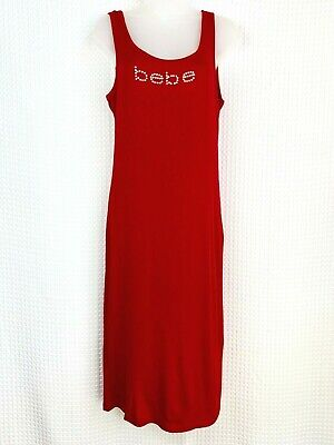 NWT Bebe Women's Logo Chili Pepper Red Tank Top Rhinestone Dress Sz Large Sheath