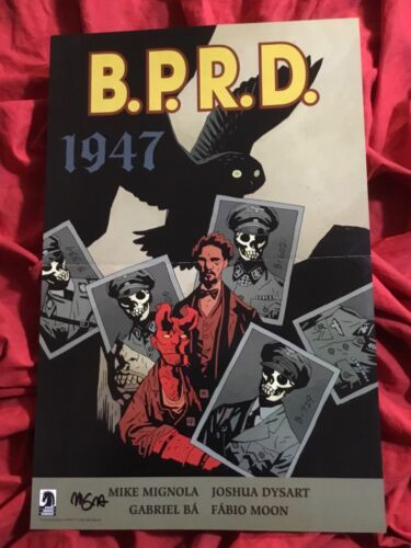 HELLBOY B.P.R.D. 1947~PROMOTIONAL ART POSTER~SIGNED BY MIKE MIGNOLA~