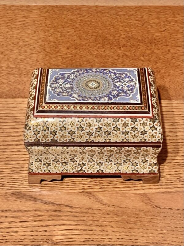 Vintage Khatam Persian Marquetry Hinged Trinket Jewelry Box Wood