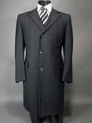 Vtg KEN SCOTT Top Coat, 40 42 Hand Made in USA Navy Blue Wool, Exceptional