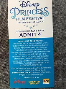 Movie ticket Disney princess x4 Huntingdale Gosnells Area Preview