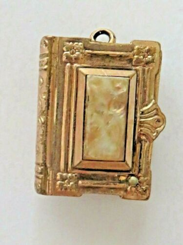 Victorian Gold Mourning Book Locket Fob Charm Daguerrotype