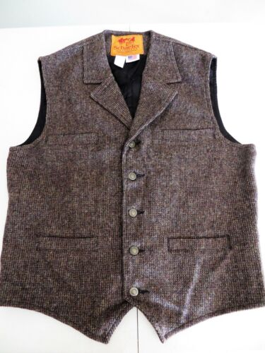 SCHAEFER OUTFITTER Mens Brown Wool Western Vest Sample Style 707 Large 042321