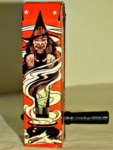 Vintage US Metal Toy Tin Litho Halloween Ratchet Noisemaker Witches Bats