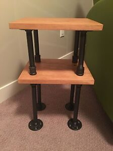 Rustic pine wood pipe end table