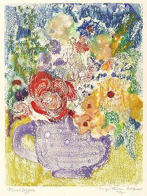 INGE THIESS-BÖTTNER - Krug mit Blumen - Farbmonotypie 1972