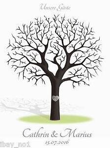 Fingerabdruck Hochzeitsbaum Leinwand Weddingtree Hochzeit Spiel 40x30cm Motiv46