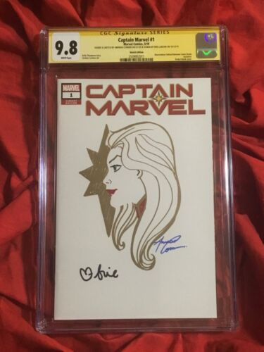 CGC SS 9.8~CAPTAIN MARVEL #1~ORIGINAL ART BY AMANDA CONNER+SIGNED BRIE LARSON
