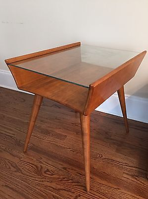 RARE Vtg Mid Century Modern Nightstand End Table Conant Ball Russel Wright Glass