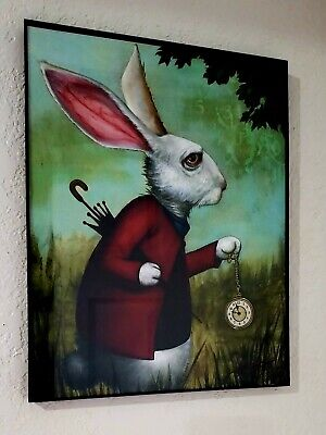 Alice in Wonderland Prints: Cheshire Cat and White Rabbit, signed