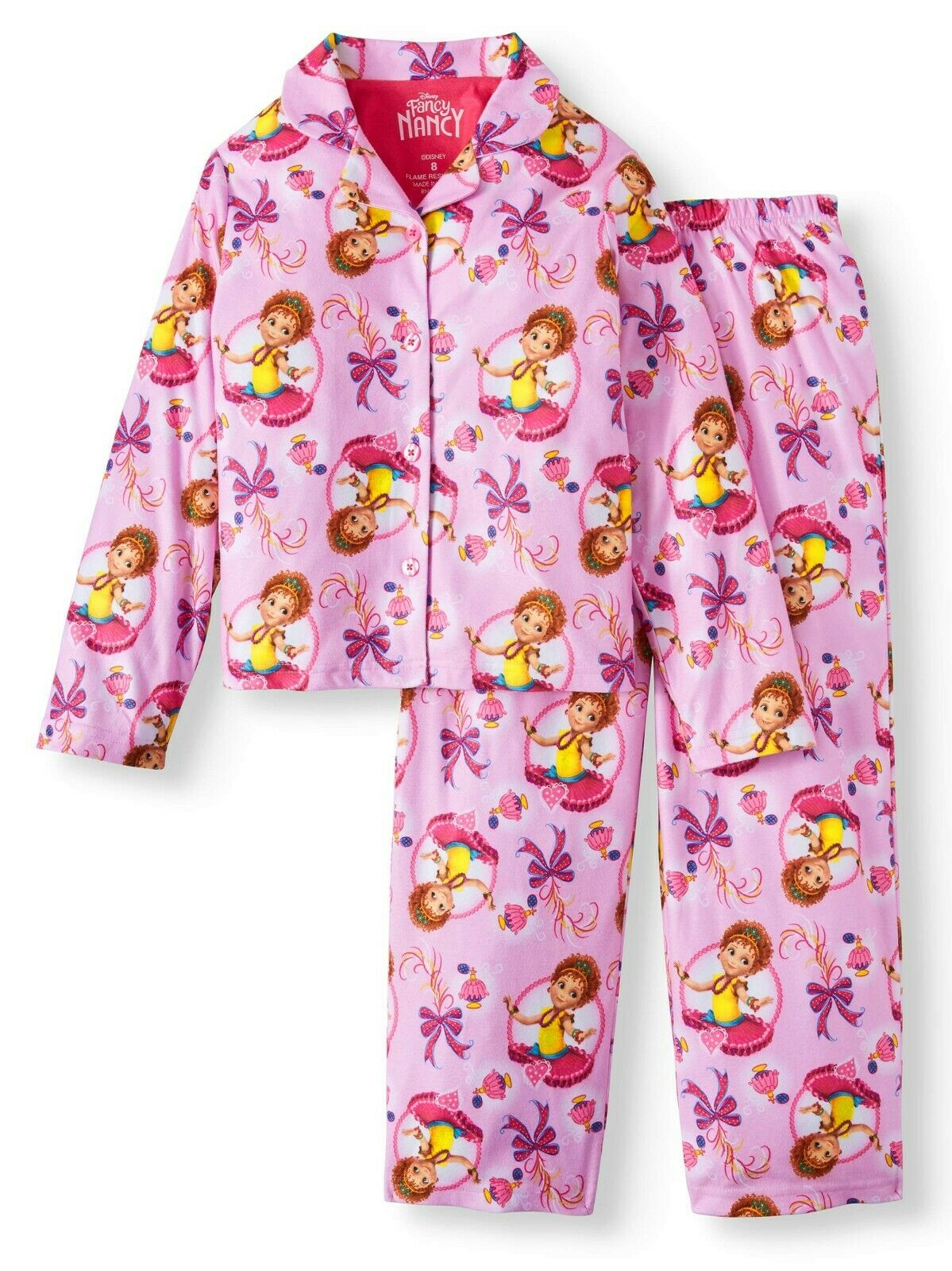 New Disney Girls' Fancy Nancy 2-Piece Pajama Coat Set 8