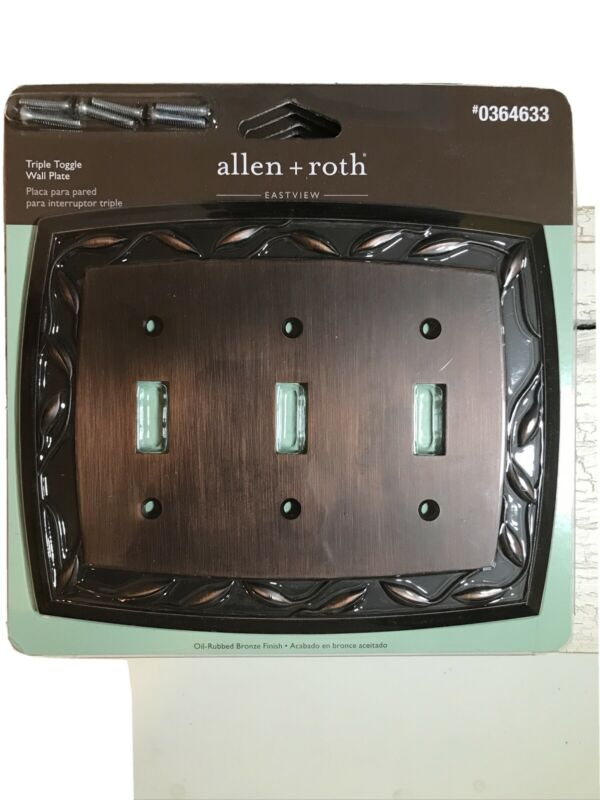 ⭐️Allen + Roth Triple Toggle Wall Plate Switch Cover New #0364633