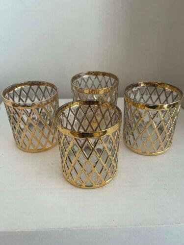 Rare Vintage Imperial Glass Set of 4 Sekai Ichi Old Fashion Glasses 22k Gold
