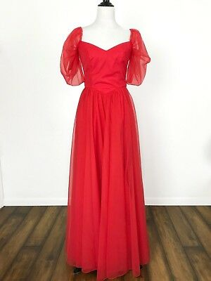 Red Princess Queen Prom Long Dress Theater Halloween Costume Sz 6?