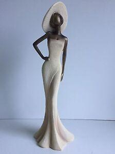 * NEW CONTEMPORARY ELEGANT LADY BRONZE CREAM pose figurine sculpture Ornament.