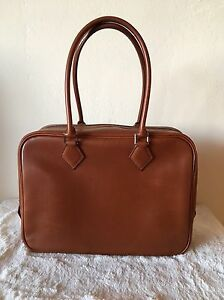 Authentic Hermes Plume 28 Noisette Box Calf Leather PHW Barenia Substitute