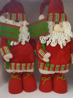 Christmas, x2 free standing 45cm in height, soft Santas