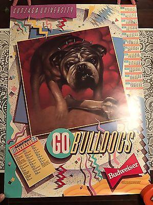 Vintage 1987 Gonzaga University Basketball Schedule Calendar Poster   Budweiser