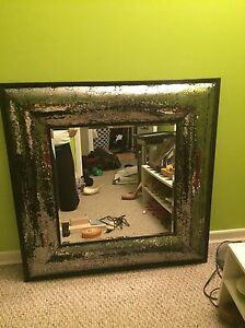 Silver Glittery Square Mirror with Black Trim Kitchener / Waterloo Kitchener Area image 1