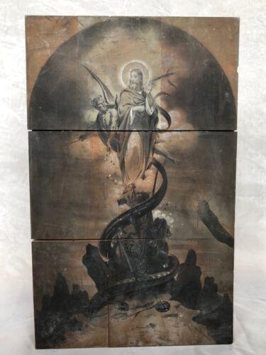 Antique Printing Block RARE Vanderburgh Wells Temptation of Christ Biblical Art