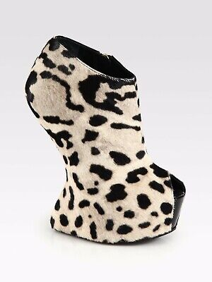 Used, New Giuseppe Zanotti Leopard Print Calf Hair Contoured Wedge Shoes for sale  Shipping to Ireland