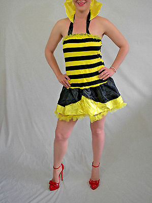 sexy Adult Queen Bumble Bee Halloween Costume Dress fits M-L-XL (Adult Bee Costume)