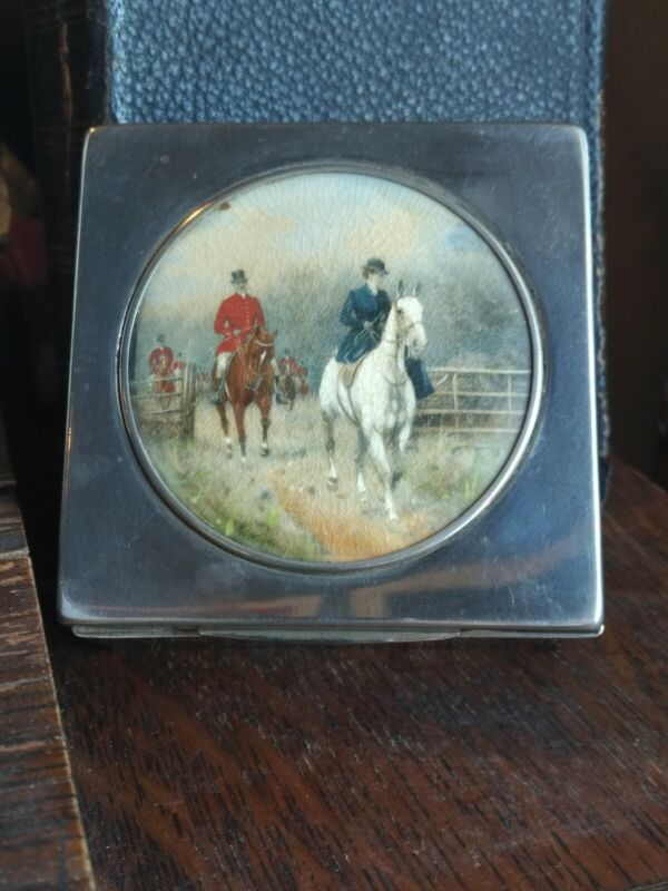 English Riding Scene Female on Horse Painted Silverplate Cigarette Trinket Box